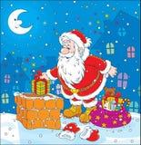 在屋顶的圣诞老人 免版税库存照片