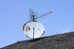 在屋顶的接收器技术 库存图片