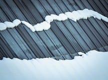 在屋顶的熔化的雪 免版税图库摄影