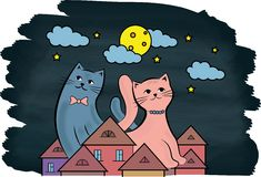 在屋顶的猫在晚上 库存图片