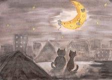 在屋顶的猫 画由水彩 儿童例证 库存照片