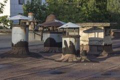 在屋顶的老透气 免版税库存照片