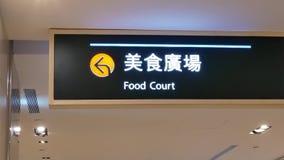 在屋顶的食品店标志的行动在商城里面 股票录像