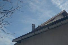 在屋顶部分的烟囱 免版税库存图片