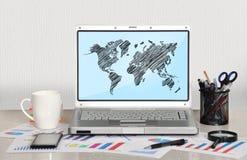 在屏幕上的世界地图 免版税图库摄影