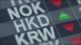 在屏幕上的增长的香港美元汇率显示 HKD外汇断续装置 3d翻译 库存图片