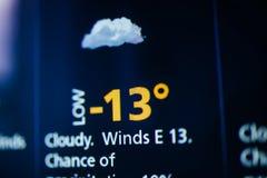 在屏幕上的多云和冷气候 免版税图库摄影
