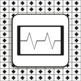 在屏幕上的心电图 也corel凹道例证向量 在黑白背景的黑白图象 免版税图库摄影