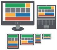 在屏幕上的敏感设计Web应用程序个人计算机 免版税库存照片