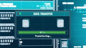 86 在屏幕上的数据传送进展报警信息调动完全戒备 库存例证