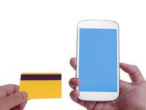 在屏幕上的网路银行有智能手机的 裁减路线 库存照片