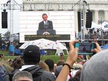 在屏幕上的巴拉克・奥巴马总统 免版税库存照片