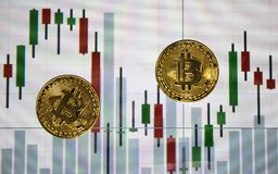 在屏幕的背景的两枚硬币bitcoin 图库摄影