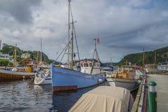 在展示的小船在港口halden,图象4 库存图片