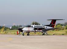 在展示的小运输航空器 免版税库存照片