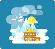 在山、冬时、雪和乐趣的滑雪胜地 库存照片