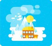 在山、冬时、雪和乐趣的滑雪胜地 免版税库存照片