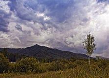 在山上的风雨如磐的天空 图库摄影