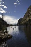 在山之间的淡水湖 免版税库存图片