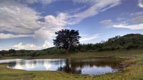 在山之间的湖 库存照片