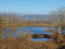 在山前面的湖 免版税库存照片