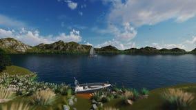 在山包围的湖的小船航行4K 股票视频