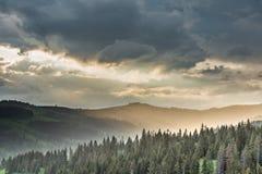 在山和森林的暴风云 免版税库存图片