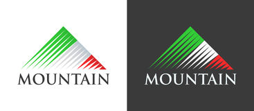 在山商标的意大利旗子  免版税库存照片
