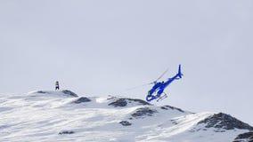 在山土坎的明显的直升机失事 免版税库存图片