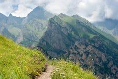 在山坡的小径在山 免版税库存照片