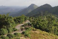 在山复合体的弯曲的道路 ETak汽车雄鹿往Phu Pa Po上面的攀登高度这座山峰顶  免版税库存图片