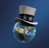 在山姆大叔的帽子的地球 免版税库存照片