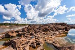在山姆平底锅Bok的未看见的泰国石头峡谷在Mae孔河 库存照片