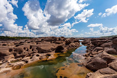 在山姆平底锅Bok的未看见的泰国石头峡谷在Mae孔河 库存图片