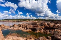 在山姆平底锅Bok的未看见的泰国石头峡谷在Mae孔河 免版税图库摄影