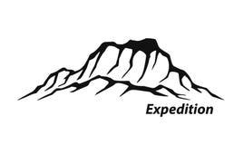 在山室外冒险上升的山脉商标的远征 库存例证