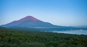 在山富士顶部的红颜色在夏天清早 图库摄影