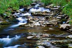 在山小河的小瀑布 免版税库存图片