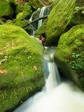 在山小河的测流堰 在石头的五颜六色的叶子到水里 生苔冰砾 库存照片