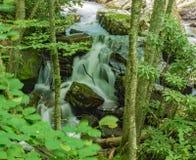 在山小河的落下的瀑布 库存图片