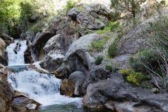 在山峡谷Sapadere的强有力的水流量 免版税图库摄影