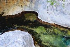 在山峡谷Sapadere的水流量 库存照片