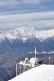 在山峰罗莎Khutor,索契,俄国的气象台 免版税库存图片