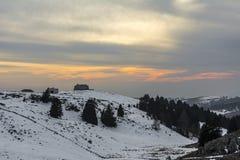 在山意大利的日落 库存照片