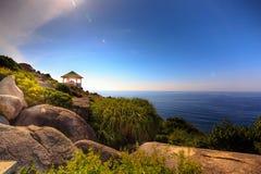 在山景的眺望台向海 免版税库存照片