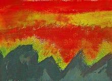 在山森林的日落-丙烯酸酯的绘画 库存图片