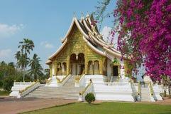 在山楂西康省王宫复合体的佛教寺庙在琅勃拉邦,老挝 库存照片