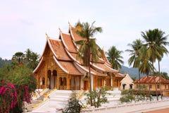 在山楂西康省(王宫)复合体的佛教寺庙在琅勃拉邦(老挝) 库存图片