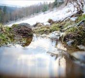 在山河的冬天 云彩的反射在水平面的 免版税图库摄影