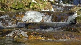 在山河自然的慢动作视图、清楚和生气勃勃的瀑布 冬天晴天 股票视频